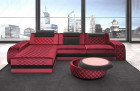 Designer Sofa Berlin L with LED Lighting and Recamiere - dark red Sun Velvet 1006