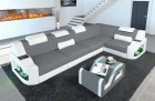 Corner sofa with lighting and shelf in Manhattan L in structured fabric Hugo 5 - grey