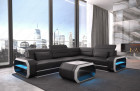 Modern Sectional Sofa with LED lights an USB connection - black-white