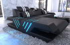 Leather sofa modern L Shape cornercouch with lights - black
