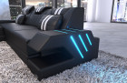 Luxury sofa modern L Shape cornercouch with light -black