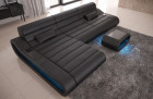 Modular Sectional Sofa Concept L Short with LED lights - black