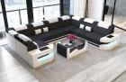 Luxury Fabric Sofa Leather Fabric Mix U Shape - black Mineva 14