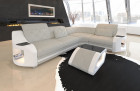 Couch with LED lighting Columbia upholstered sofa in structured fabric Hugo 1 - ivory