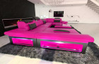 Big Leather Sofa Atlanta with LED Lights pink-black