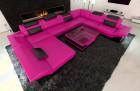 leathersofa atlanta with LED Lights pink-black