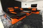 Sectional leather sofa black-orange