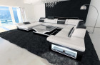 Sectional leather sofa white-black
