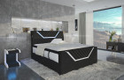 Design leather box spring bed Nantes with USB and LED in elegant black - white