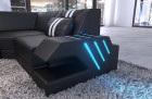 Sectional Sofa Beverly Hills U Shape with Ottoman and LED lights - black