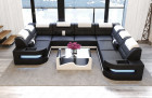 Leather Sectional Couch Denver U-Shape with LED - black-white