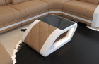 Design coffee table Palm Beach in leather with black glass plate in sandbeige - white