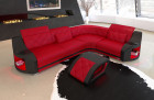 modern corner couch Columbia with LED lighting in red - black