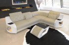 Columbia corner sofa LED lighting in beige - white