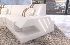 Leather couch couch Beverly Hills C shape with ottoman and LED lighting - white-sand beige
