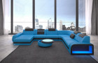 Luxury couch in Chesterfield Optik Charlotte U Form - Leather blue