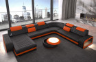 Leathersofa U shape Chesterfield Ottoman Charlotte LED - Leather black-orange