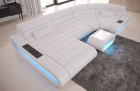 Luxury Leather Corner Sofa Concept U Shape LED lights - white