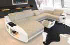 Couch Palm Beach with Chesterfield quilting in beige - white