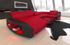 Leather living landscape Palm Beach U Form with LED lighting in red - black