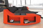 Design sofa Palm Beach U Form with lighting and shelves in black - orange
