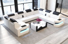 Sofa Couch modern Denver U-Shape with lights - white-black
