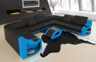 Sofa couch in U shape Columbia leather in black - blue