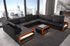 Designer sectional sofa with LED lighting in black-orange