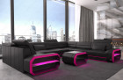 Generous sectional sofa with LED lighting in black-pink