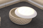 Design coffee table Charlotte in leather with storage space in beige-white