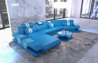 Designer sofa Beverly Hills U Shape with Recamiere and LED lighting - blue