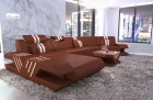 Leather Landscape Beverly Hills U Shape with LED Lighting - light brown