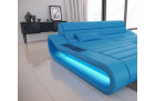 Modern Leather Sectional Sofa Concept U Shape LED lights - blue