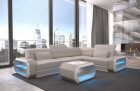 Modern Sectional Sofa with LED lights an USB connection - beige-white