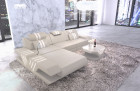 Design sofa genuine leather modern L Shape cornercouch beige with light