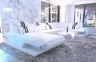 Leathercouch Sofa Beverly Hills U Shape with Ottoman and LED lights - white