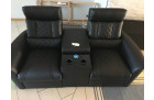 Double armchair leather with cooling cup holder and recliner function