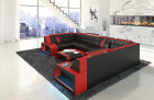 leather sofa San Jose U Shape with LED red-black
