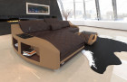 Leather sofa Palm Beach Chesterfield pattern with ottoman in dark brown - sand beige