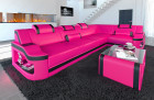 Corner couch sofa Manhattan with shelf and LED lighting in pink - black