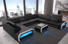 Luxury sectional sofa Seattle U with LED lighting in black-white