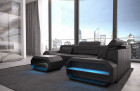 Modern Leather Sofa with LED lights an USB connection - black