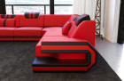 Luxury Sectional Sofa San Antonio L Shape with LED and USB red-black