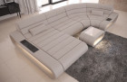 Luxury Leather Sectional Sofa Concept U Shape LED lights - beige
