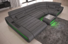 Modular Leather Sofa Concept U Shape LED lights - grey