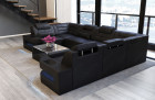Modern Sectional Sofa Denver U-Shape with LED - black