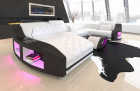 Design sofa Palm Beach U Form with lighting and shelves in white-black