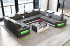 Leather Sectional Sofa Denver U-Shape with LED - grey-white