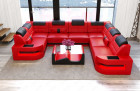 Luxus Couch Denver U-Shape with lights - red-black