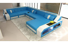 Sectional Leather Sofa Houston XL with ottoman blue-white